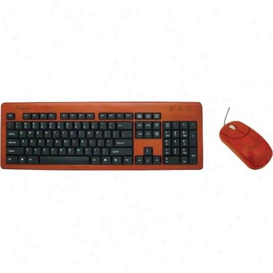 Impecca Kbb605cw Wireless Hand-carved Designer Bammboo Keyboard - Cherry