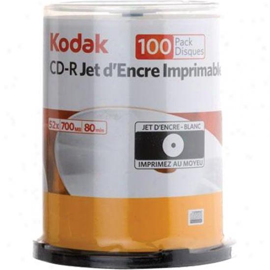 Kodak White Inkjet Printable 52x Cd-r Media 100-pack Spindle - 22300