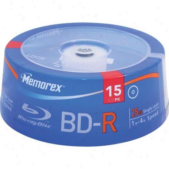 Memorex 25gb 4x Write-once Bd-r Blu-ray Discs - 15 Pack