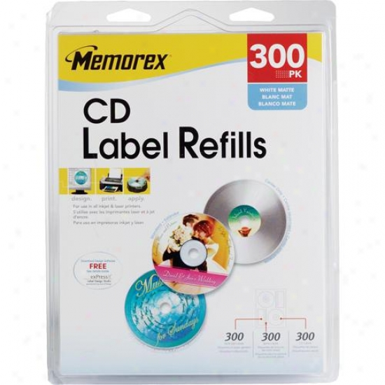 Memorex 3202-0403 300 Pack Of White Cd-r Labels