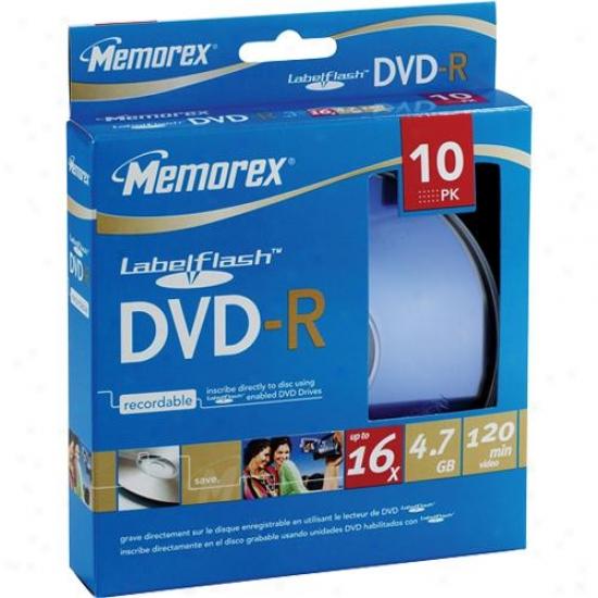 Memorex 32023133 10-pack 16x Labelflash Dvd-r Disc Spindle - Blue