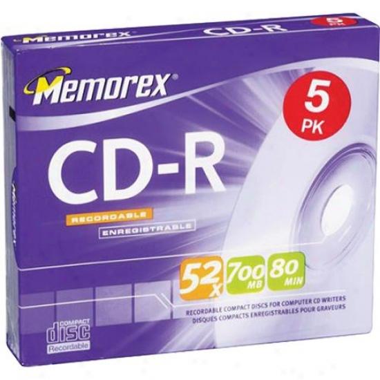 Memorex 5-pack Cd-r 80-minute/700mb - 32024508cp6