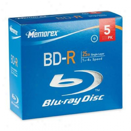 Memorex Bd-r 25gb 4x 5pk Gem Case