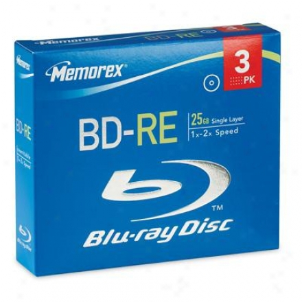 Memorex Bd-re 25gb 4x 3pk Jewel Caes