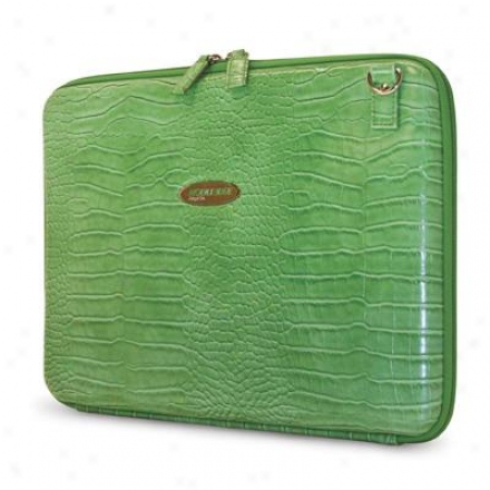 Changeable Edge Faux Croc Portfolio Green