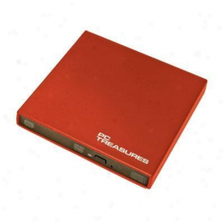 Pc Treasures Ext Slim Usb Dvd/rw Drive Red