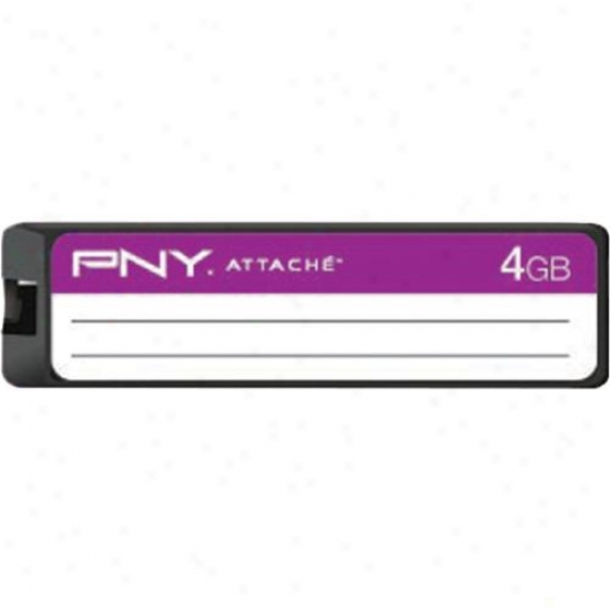Pny 4gb Label Attache Usb 2.0 Flash Drive - Purple - P-fd4gn/prpbts-ef