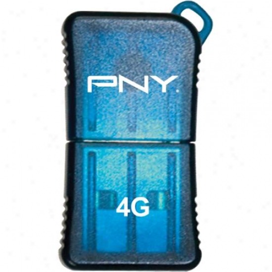 Pny Micro Sleek Attache 4gb Usb 2.0 Flash Drive - Blue - Fdu4g6slk/blu-ef