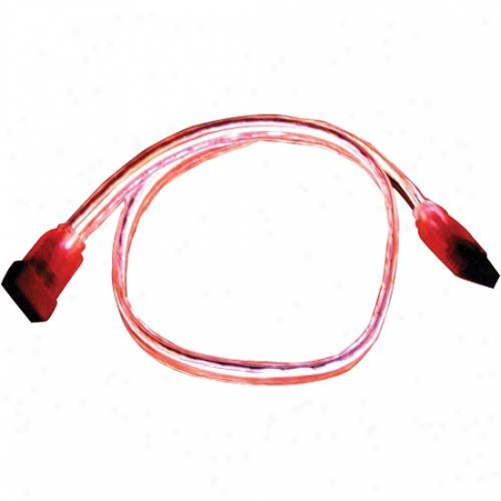 Qvs Satael-24rd Serial Ata Internal Data Neon El Red Cable - 24 Inches
