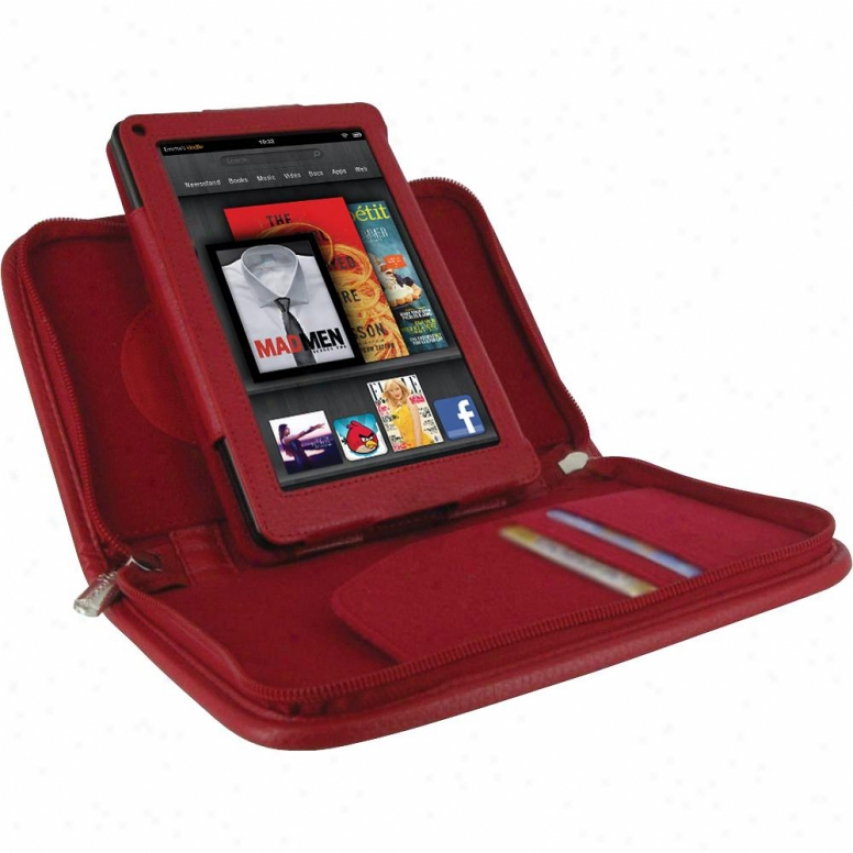 Roocase Executive Portfolio Leather Case For Amazon Kindle Fire - Red