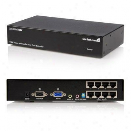 Startech 8 Port Vga & Audio Throughout Cat5 Video Extender - Black