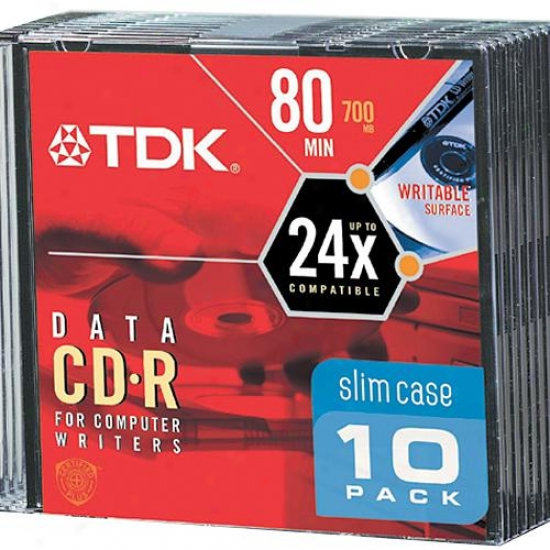 Tdk Cdr80hsm10 10-pack 80 Minute Blank Cd-r Discs