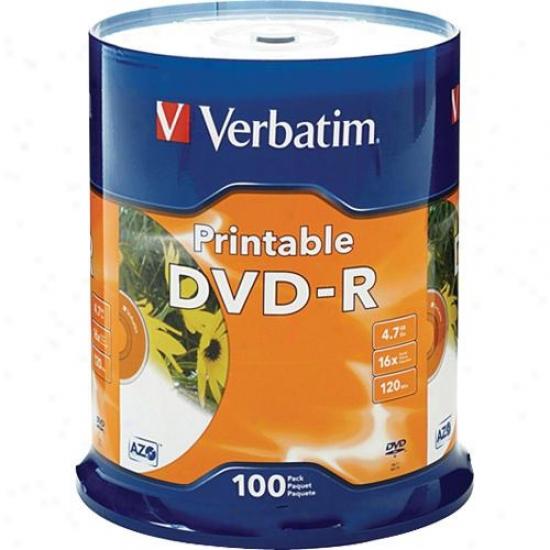 Literally Dvd-r White Inkjet Printable Recordable Discs Vbt Ver95153