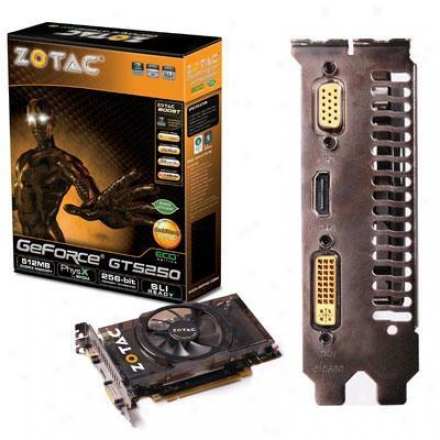Zotac Eco Geforce Gts 250 512mb Gddr Pcie 2.0 X 16 Video Card - Zt-20110-10p