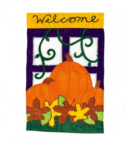 'welcome Pum0kin Garden Flag With Brilliant Fade-resistant Color