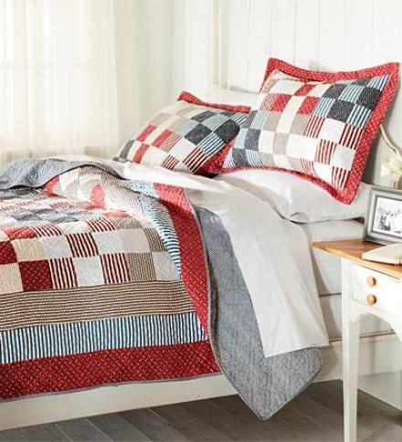 100% Cotton Full/queen Americana Patchwork Quilt
