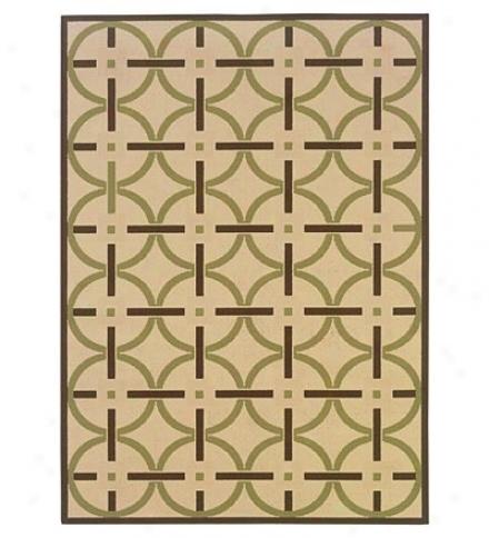 100% Polypropylene Circles Indoor Exterior 7.10' X 10.10'  Rug