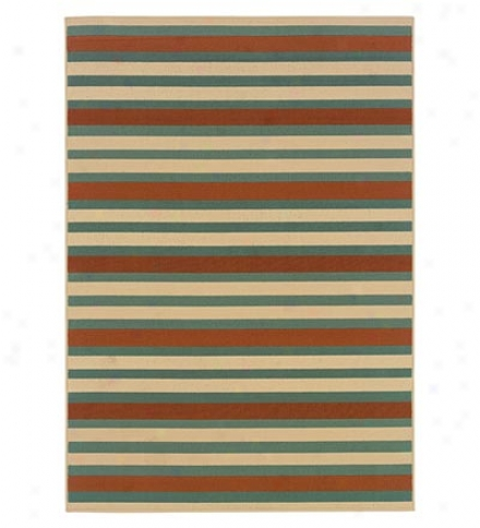 100% Polypropylene Stripes Indoor Outdoor 7.10' Rkund Rug