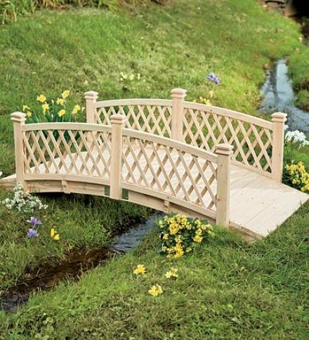 10'l Wooden Garden Foot Bridge With Latticework Sides