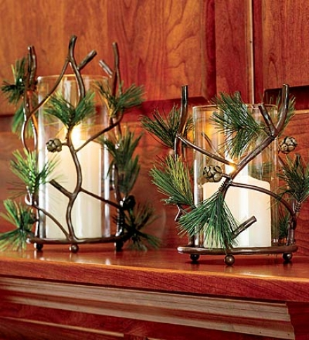 "11-1/2"" Realistic Pine Cone Candleholder With Faux Greenery"