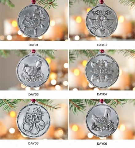 12 Days Of Christmas Pewter Ornament Tree