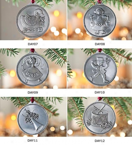 12 Days Of Christmas Pewter Ornaments, Set Of Days 7-12