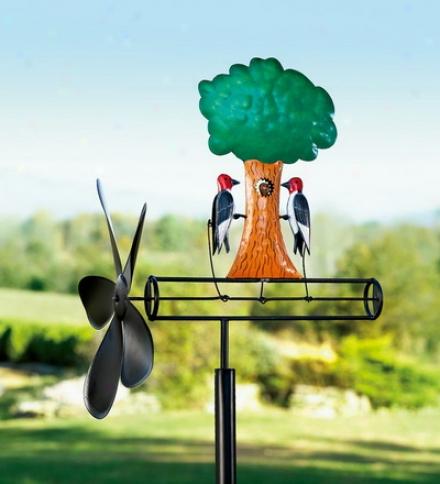 """12""""h Kinetic Garden Art Woodpecker Whirligig"""