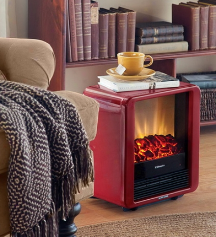 1370w Mini Cube Electric Stove With Independent Heater And Flame Effect