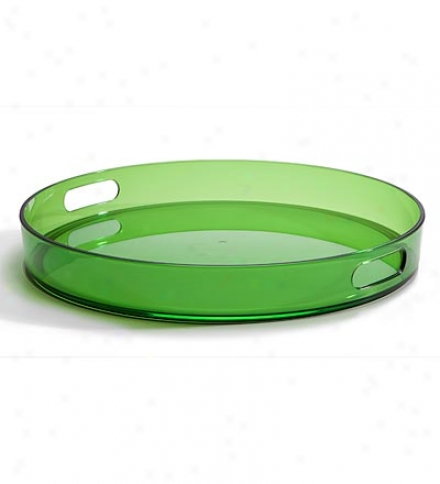 15-inch Round Green Acrylic Serving Tray With Built-in Handles