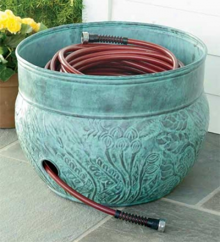 150 Ft. Galvanized Steel Hose Pot Storage Container