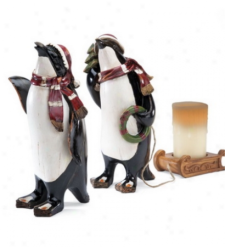 "15""h Resin Penguin With Candle-holding Sled"