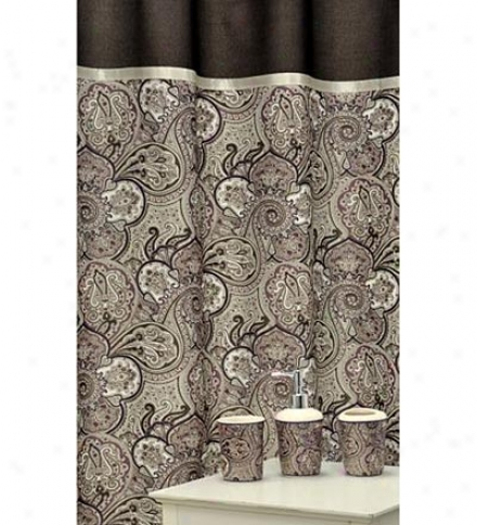 16-piece Chocolate Paisley Shower Curtain And Bath Accessorkes Set