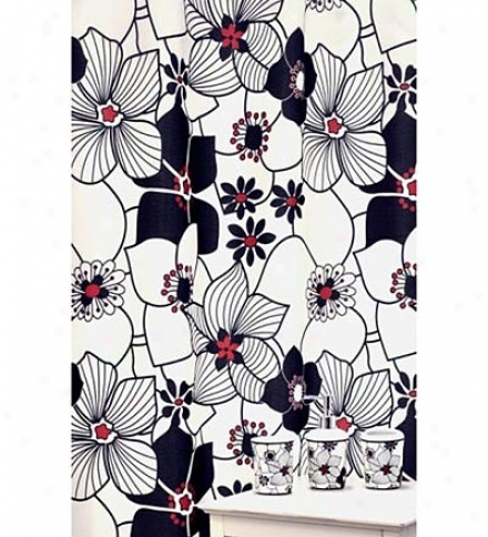 16-piece Red And Black Daisies Shower Curtain And Bath Accessories Set