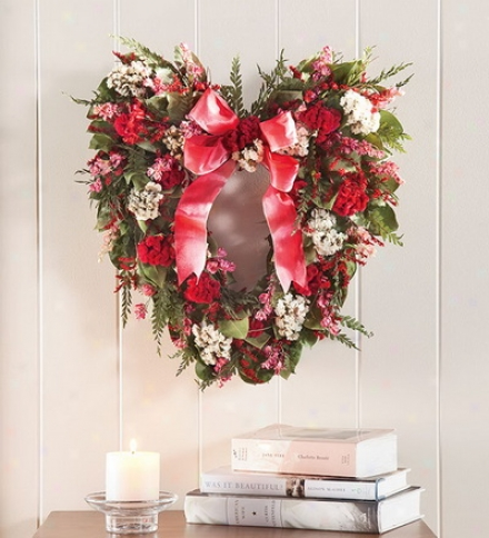 "16"" Hand-crafted Heart-shaped Dried Floral Garland In Two Sizes"