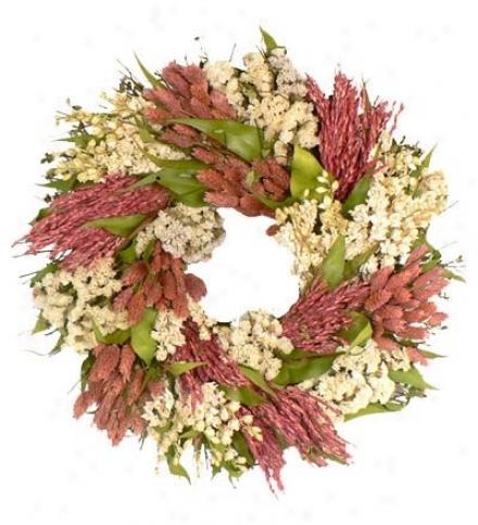 "16"" Pink Patchwork Wreath"