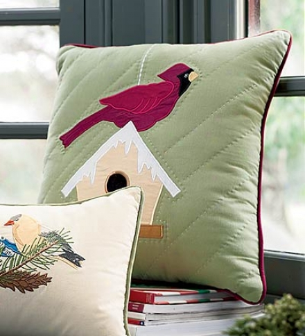 """16"""" Sq. Cotton Quilted And Appliqu??d Principal Birdhouse Pillo In Green"""