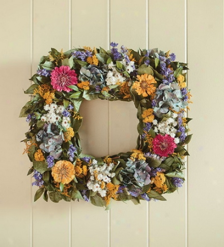 "17"" Sq. All Fool Handcrafted Square Zinnia Wreath"