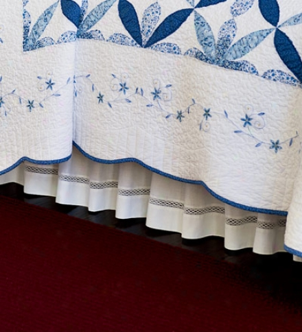 "18"" Leave King Cotton Lattice Lace Bed Skirt"