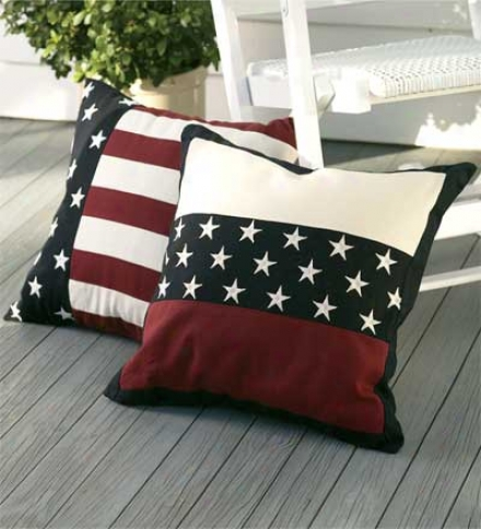 "18"" Sq. Weather-reskstant Cotton Americana Embroidered Star Band Pillow"