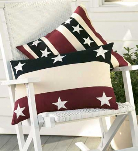 "18"" Sq. Weather-resistant Cotton Americana Stripes Pillow"
