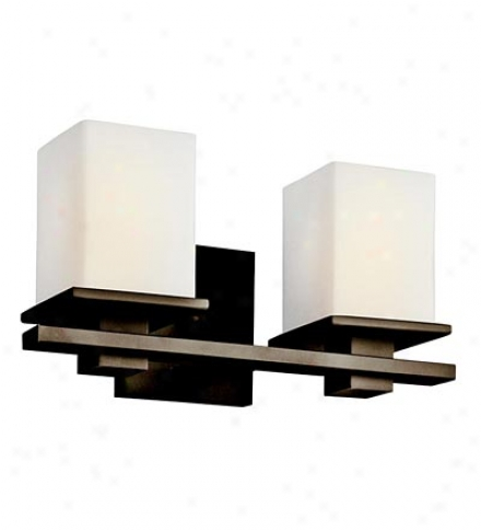 2-light Transitional Vanity Wall Sconce With Satin-etched Opal Shades