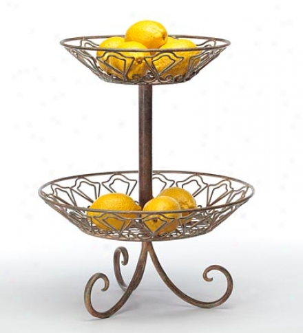 2-tier Metal Fruit/vwgetable Server Stand