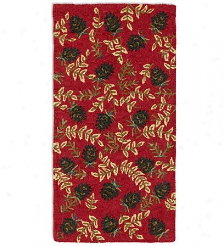 2'X  4' Hand-hooked Fire-resistant Ruby Cones Wool Rug