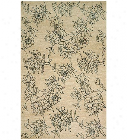 2' X 8' Polypropylene Blend Sketxher Flowers Indoor Outdoor Rug