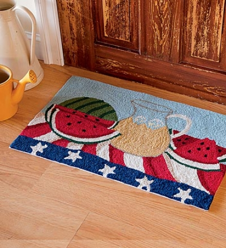 """20""""w X 30""""l Hand-hooked Washable Summer Picnic Rug"""