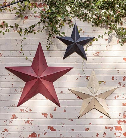 "24"" Ecru Americana Distressed Decorative Metzl Asterisk"