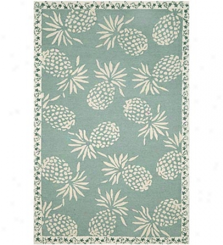 "24"" X 8"" Polypropylene Pineapple Indoor Outdoor Rug"