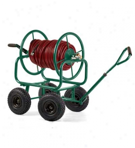 250 Ft. Heavy-duty Reel Hose Cart With Pneumatic Swivel Tires And Handle