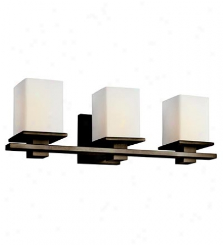 3-light Transitional Vanity Wall Sconce With Satin-etched Opal Shades