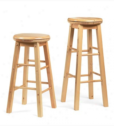 "30"" Solid Natural Pine Swivel Bar Stool"